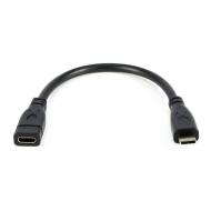 USB-C verlengkabel 20 centimeter zwart