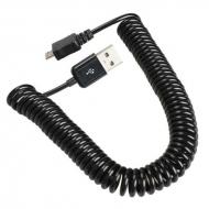 Gekrulde micro USB naar USB kabel - 3 meter - zwart
