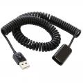 Gekrulde USB verlengkabel - 3 meter - zwart