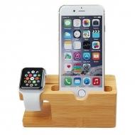 Bamboe houder voor iPhone en Apple Watch