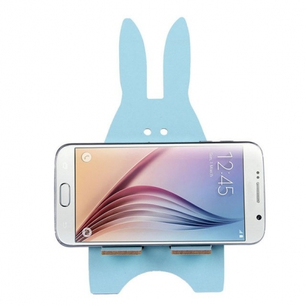 Telefoonhouder houten konijn blauw